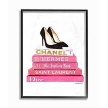 Stupell Industries Glam Pink Fashion Books Black Pump Hells Oversized Framed Gic