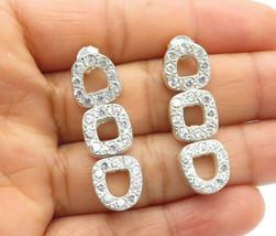 925 Sterling Silver - Vintage Sparkling Topaz Open Linked Drop Earrings ... - $32.78