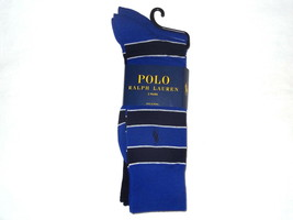 Ralph Lauren 2 Pair/Pack Mens Socks striped blue/blk/white Polo Rider Lo... - $19.02