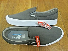84892ae5a1 Vans Mens Slip On Lite Neo-Perf Asphalt Grey True White Skate shoes Size.