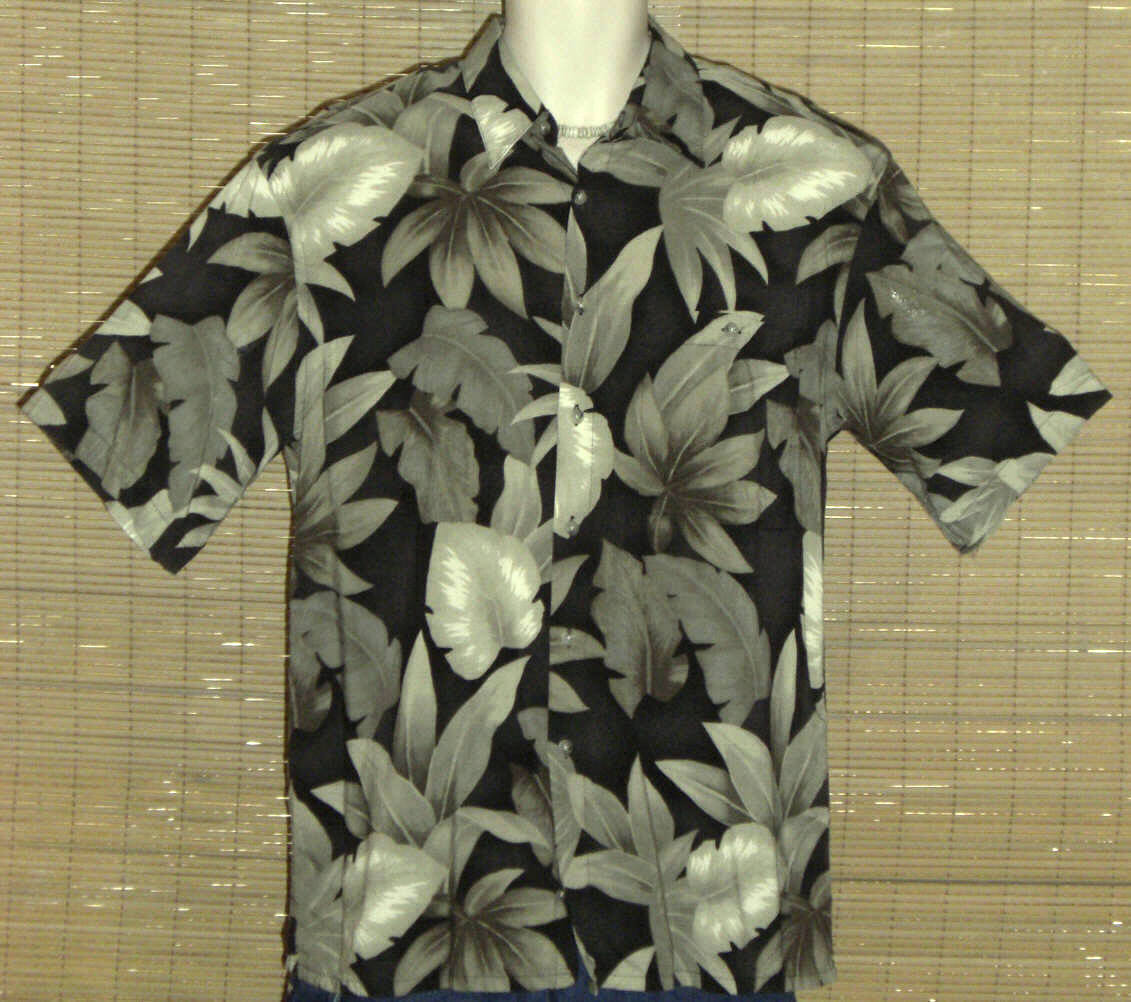 Primary image for CAMPIA MODA Hawaiian Shirt Black Green Medium