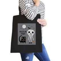 Trick-Or-Treat Skeleton Black Cat Black Canvas Bags - $19.89 CAD