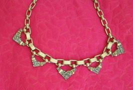 STELLA & DOT SIGNED Gray Rhinestone Necklace Gold Tone Art Deco Style Ch... - $24.74