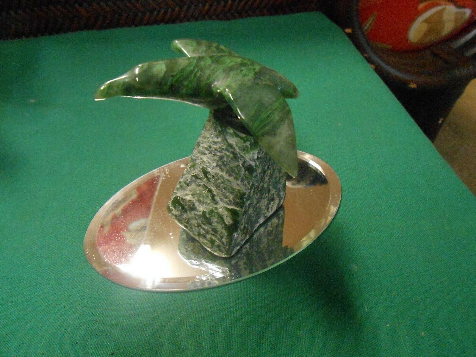Magnificent Alabaster BIRD Figure on Jade Stone with Mirror Stand