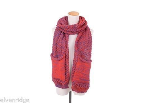 Knit Dip Stitched Wrap Scarf with phone / tablet Pocket Scarf