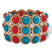 PalmBeach Jewelry Red and Blue Bead and Crystal Gold Tone Stretch Bracel... - ₨1,046.06 INR