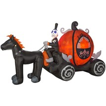 Haunted Living Gemmy Projection Airblown Pumpkin Carriage Inflatable NEW - $89.99