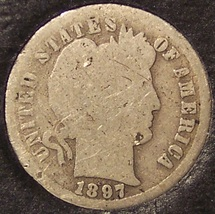 1897-S Silver Barber Dime LOW MINTAGE #0219 - $10.59