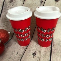 Starbucks 2019 Reusable Red Holiday Cups, Pair, Collectable, Christmas, ... - $33.71