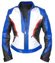 Overwatch Game Soldier 76 Biker Synthetic Leather Jacket image 3