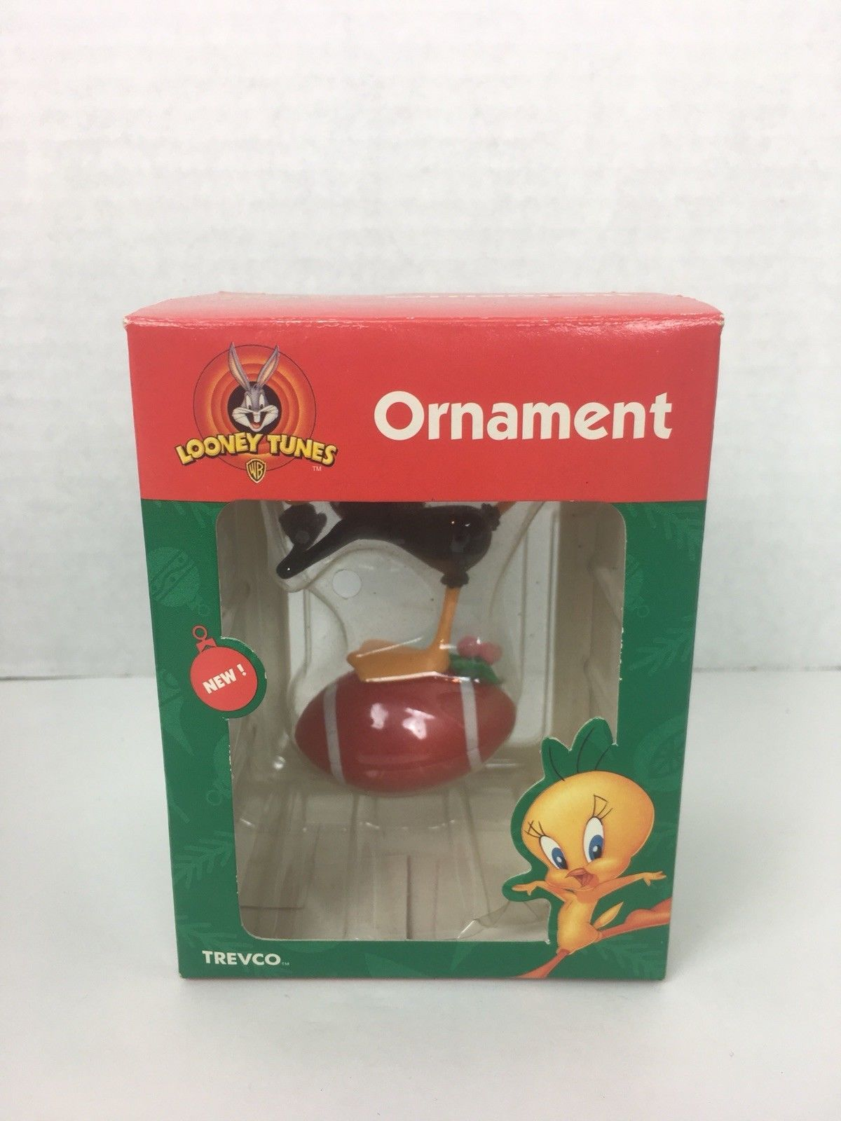 Looney Tunes Christmas Ornament Daffy Duck Football Trevco 1999