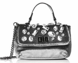 Steve Madden NWT Grey Velvet Valera Rhinestone Mini Crossbody Handbag New - $25.34