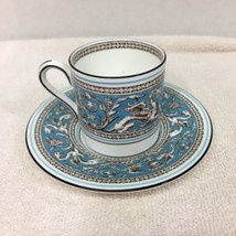Florentine Wedgwood Bond Shape Demitasse Cup Saucer Turquoise Fruit Center  - $32.18