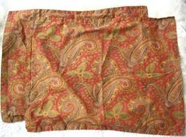 Vintage Ralph Lauren Remington 2 Standard Pillow Shams Red Gold Green - $50.00