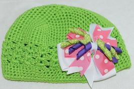 Unbranded Infant Toddler Lime Green Hat Stretch Removable Bow Multicolor image 4