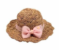 PANDA SUPERSTORE Creative Summer Straw Beach Bow Khaki Girl Hat