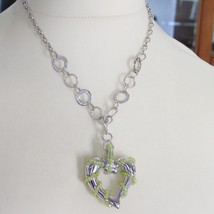 925 STERLING SILVER NECKLACE WITH PERIDOT FINELY WORKED BIG HEART PENDANT, ITALY image 2