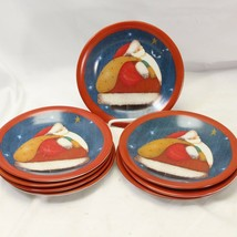 "Certified International Santa Salad Dessert Plates 7.875"" Lot of 8 - $39.19"