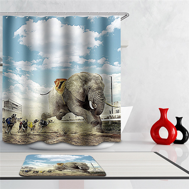 Fabric Animals leopard Shower Curtain Home Bathroom Curtains 3d elephant bear pe