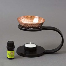 Iron & Copper Essential Oil Burner Aroma Diffuser, Candle Powered - w/Organic Le
