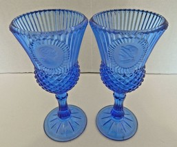 Fostoria for Avon Cobalt Blue Wine Water Goblets George and Martha Washi... - $19.68