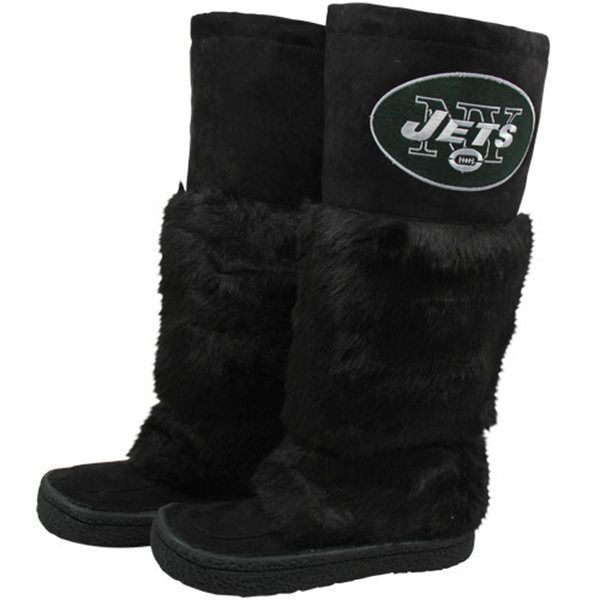 Primary image for NFL Football New York Jets Ladies Black Faux Fur Devotee Knee-High Boots Size 9