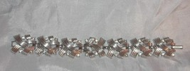 Vintage 1960s Link Bracelet Silver Tone Textured Cross Hatch Rhinestone ... - $4.95