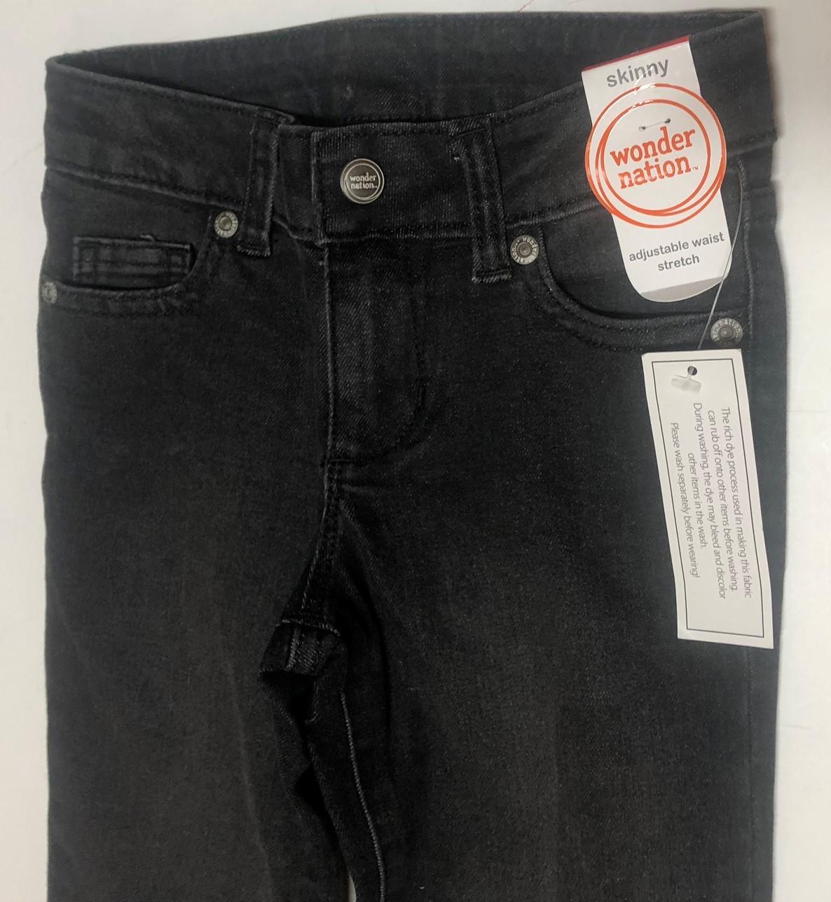 Wonder Nation Boy's Jeans Skinny Adj Waist Black Kid's Sz 6 image 3