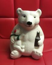 Vintage Coca Cola Momma & Baby Polar Bear Cookie Jar Missing Lid - $10.02