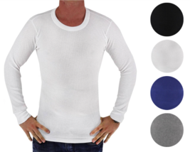 New BYC Men's Premium Long Sleeve Thermal Underwear Heavy Weight Solid Shirt