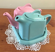 HALL CHINA TEA-FOR-TWO TEAPOT SET PINK AND GARDEN IN COLOR - $32.00