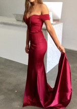 Dark Red Long Prom Dresses,Off Shoulder Sexy Party Dresses,Mermaid Eveni... - $140.99