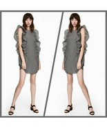 H&M Black/White Gingham Print Sleeveless Ruffled Shift Dress - Size 14 - $21.95