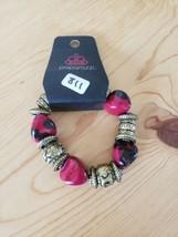 811 Gold Red & Black Beaded Bracelet (New) - $7.61