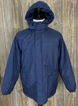 Habband's Ice House Parka Winter Jacket Men's Medium Navy Blue Polyester  - $34.65