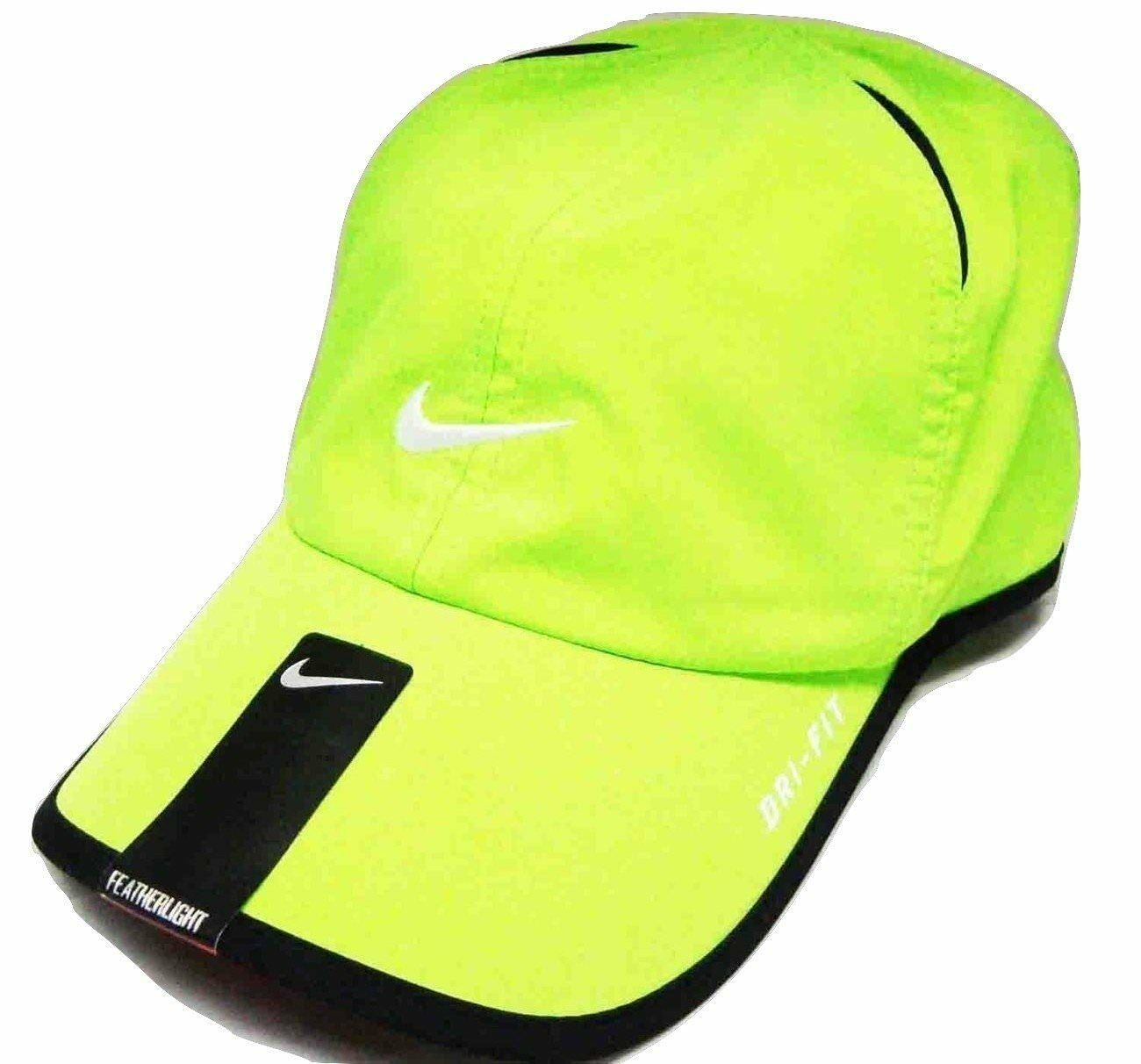 NEW! Volt/Black/White [ADJUSTABLE] Nike Featherlight Running/Tennis Dri-fit Hat
