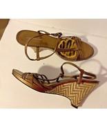 Worthington Bronze Shoes Wedges Heel  Sz 8.5 M Wicker Weave Heel - $14.54