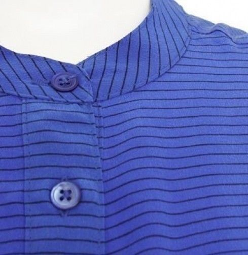 NWT EQUIPMENT Femme Ava Nautical Blue Stripe L/S Silk Top Blouse $248 Size XS