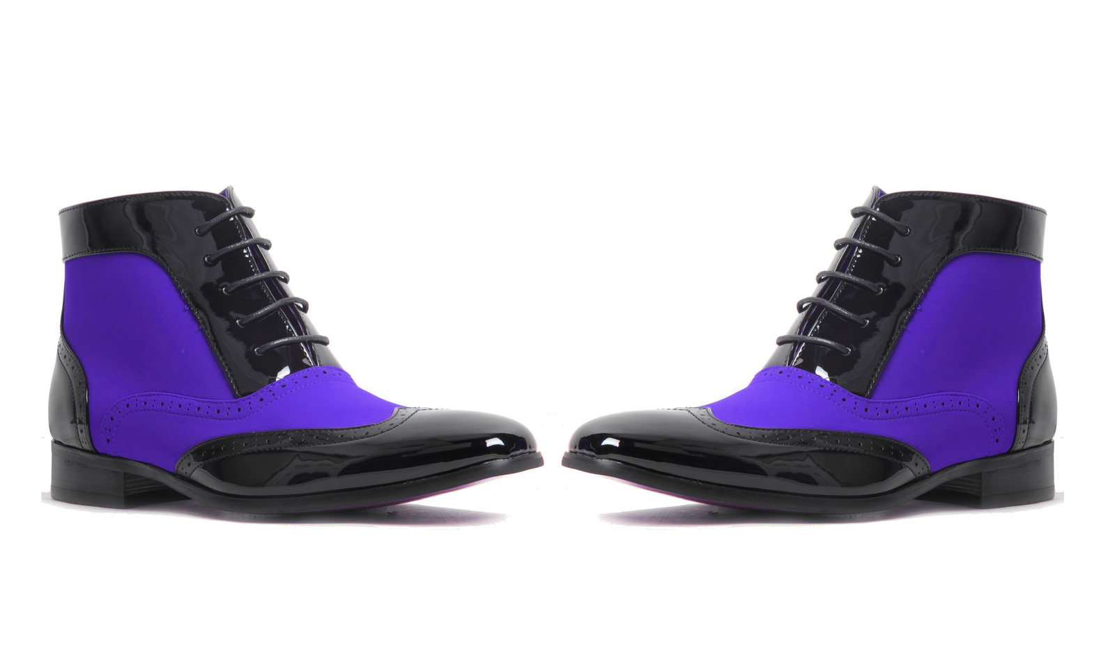 798f6eabbf4 Wo tone color blue black patent leather boots handmade wing tip ankle high  lace up men