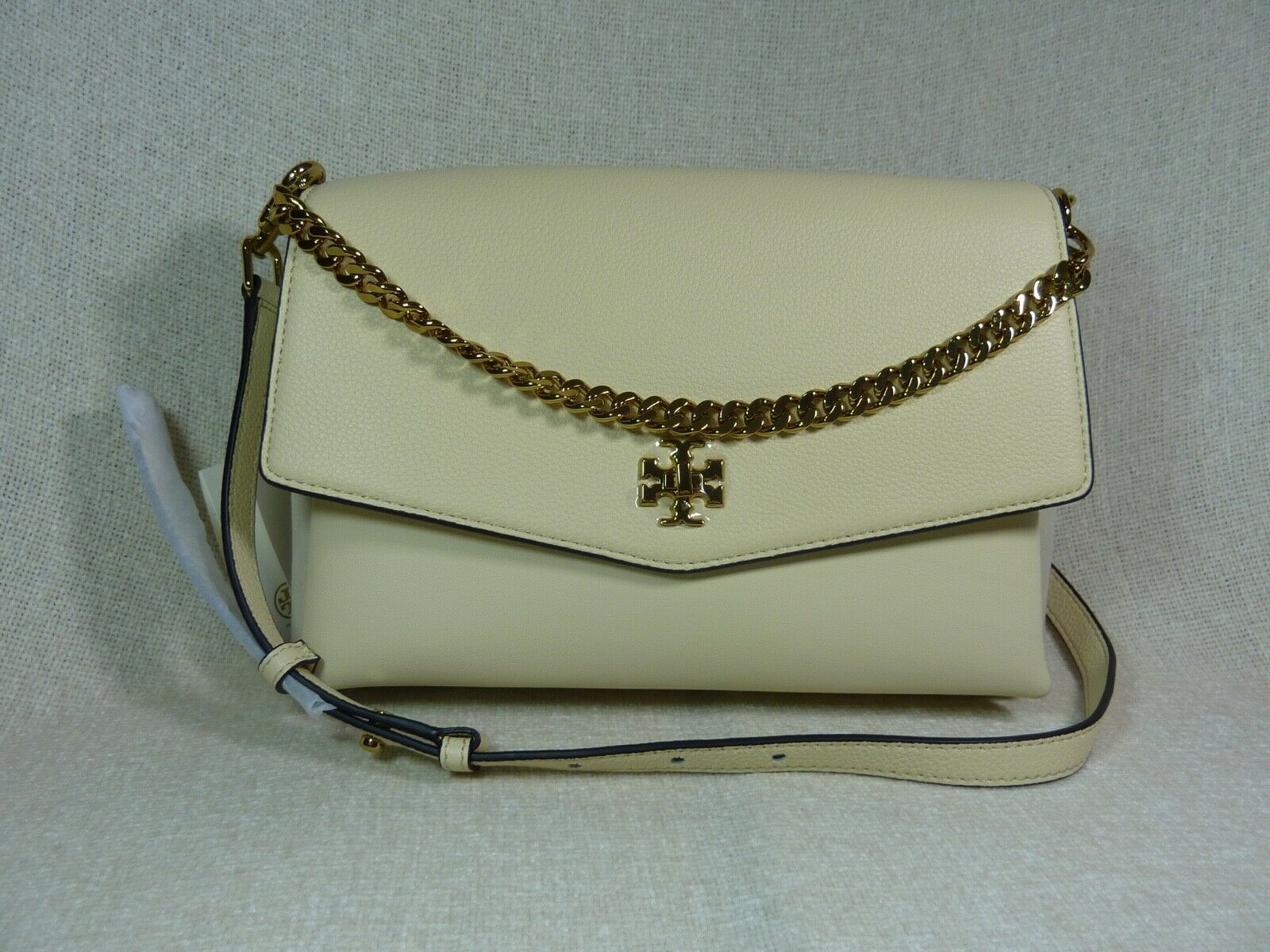 NWT Tory Burch New Cream KIRA Mixed-material Double-strap Shoulder Bag $528
