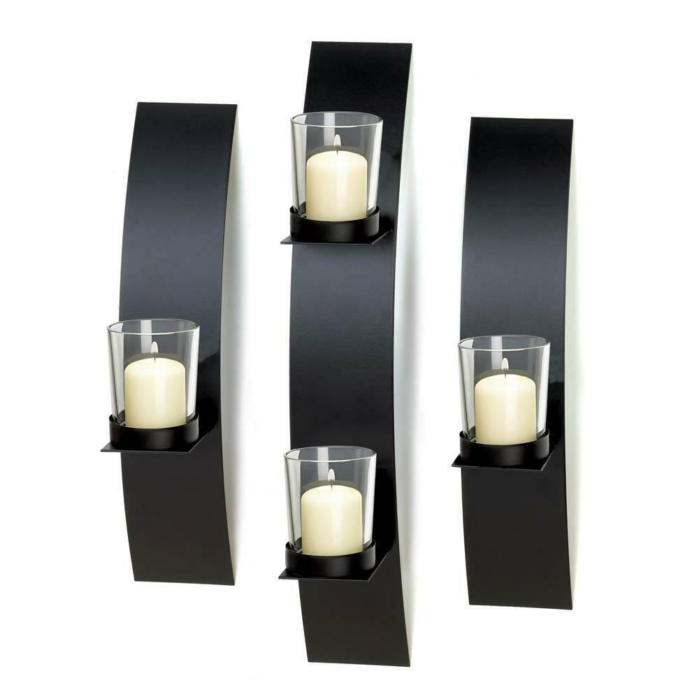 Contemporary Metal Wall Sconce Trio Candle Holder image 2