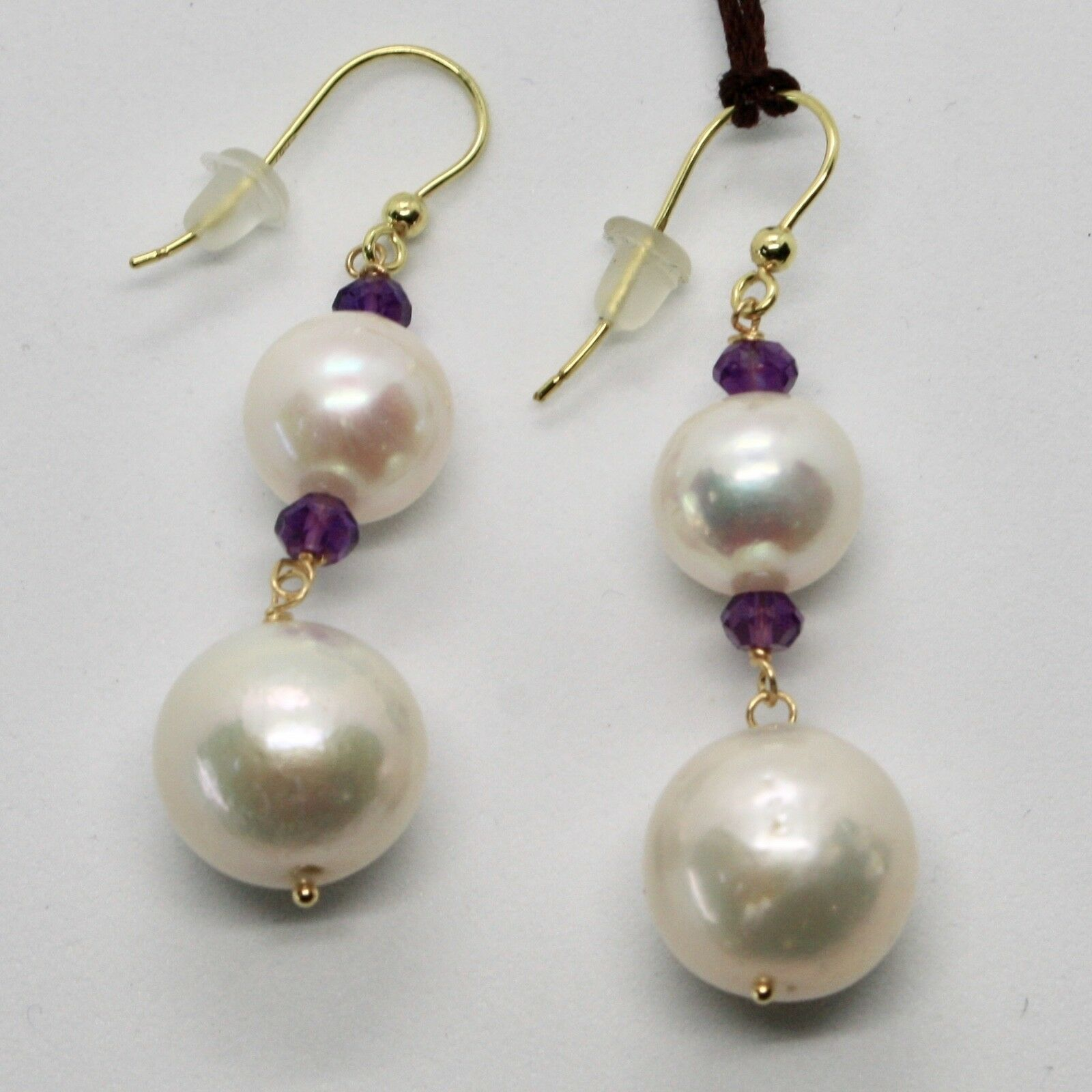 Yellow Gold Earrings 18K 750 Pearls Water Dolce and Amethyst Made in Italy