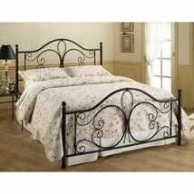 Antique Dk Brown Metal Bed Frame Twin Full Queen King Scroll Headboard F... - $322.64+