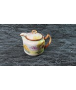 Antique Single Serving Nippon Teapot, Moriage Handle, Scene Fortress ? - $22.43