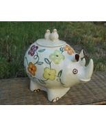 Old Vintage 1960s Ceramic Rhinoceros Rhino Birds Flowers Bugs Animal Coo... - $250.00