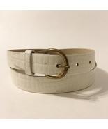 White Belt Faux Snake Skin Pattern Brass Buckle Vintage Woman's Size L - $18.00