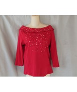 Rafaella top boat neck Medium red embellished 3/4 sleeves - $10.73