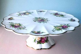 """Royal Albert Old Country Roses Pedestal Cake Plate Stand 11.25"""" New in Box - $154.90"""