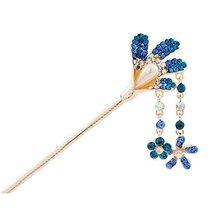 Rhinestone Petal Style Retro Women Girls Tassel Hair Pin Hair Stick Royal Blue - $13.51