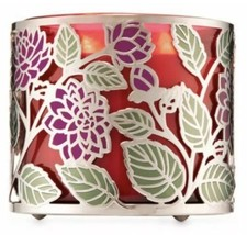 Bath & Body Works Dahlia Wild Flower Large 3 Wick Holiday Candle Holder Sleeve - $14.74